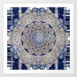 Celtic Boho Mandala Shibori Art Print