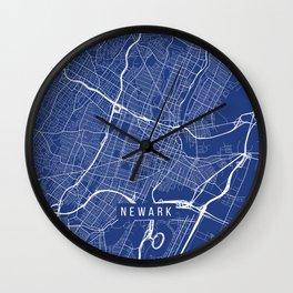 Newark Map, USA - Blue Wall Clock