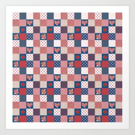 Hearts and Roses Faux Patchwork Art Print
