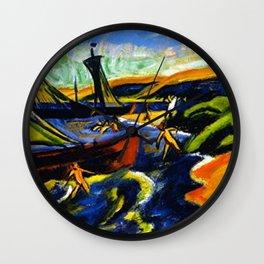 Sailboats & Beach at Nidden by Hermann Max Pechstein Wall Clock