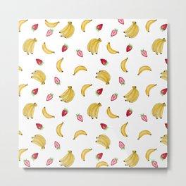 Summer yellow pink red banana strawberry tropical fruit Metal Print
