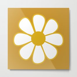 Polka Dot Daisies - Cheerful Retro Geometric Floral Pattern in Mustard and White Metal Print