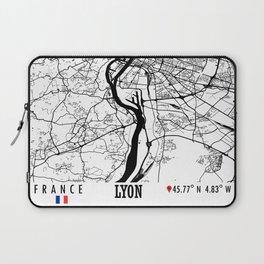 Lyon, France Road Map Art - Earth Tones Laptop Sleeve