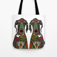 great dane Tote Bags featuring Great Dane love white by Sharon Turner