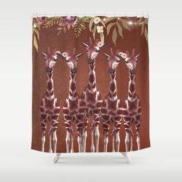 Giraffes with Flowers Safari Jungle Shower Curtain