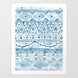 Watercolor Aztec Pattern blue Art Print