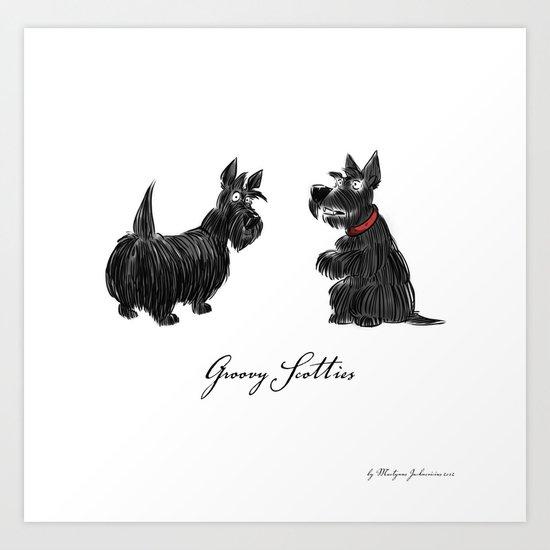 Groovy scotties Art Print