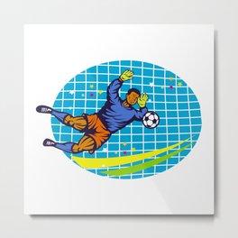 Goalie Soccer Football Player Retro Metal Print