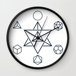 Merkaba and the Platonic Solids, Sacred Geometry Wall Clock