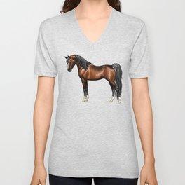 Dark Bay Arabian Horse with 4 White Socks Unisex V-Neck