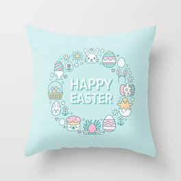 Happy Easter Wreath Aqua Bunny Eggs and Baskets - Pastel Teal Throw Pillow