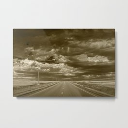 Sepia of Highway 2 in Northern Montana Metal Print