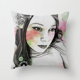 Treasure (young cute girl, magnolia & mandalas) Throw Pillow