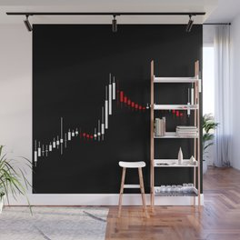 Abstract stock diagram black, red, white colors Wall Mural
