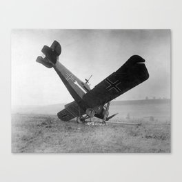 Downed German Fighter Plane - World War One - 1918 Canvas Print
