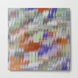 psychedelic geometric abstract pattern in orange green blue Metal Print