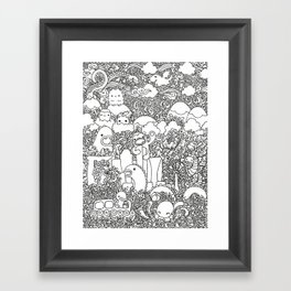 Oodles of Doodles of Singapore (White) Framed Art Print