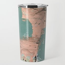 13th and Grant: an abstract mixed media piece in peach green blue and white Travel Mug