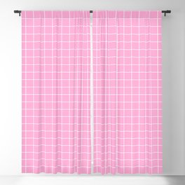 Pink and White Grid - more colors Blackout Curtain