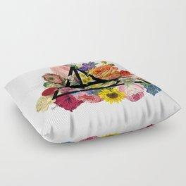 Floral Deathly Hallows - Black Floor Pillow