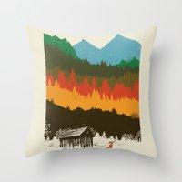 hunting Throw Pillows featuring Hunting Season by dan elijah g. fajardo
