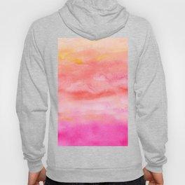 Bright pink orange sunset watercolor hand painted Hoody