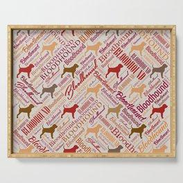 Bloodhound dog Word Art pattern Serving Tray