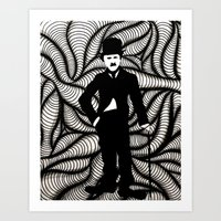 charlie chaplin Art Prints featuring Charlie Chaplin by Gabrielle Wall