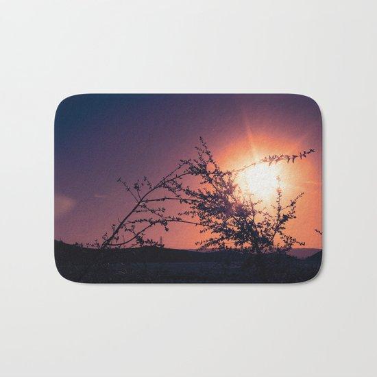 Catching the Moment (Coral Orange Sunset, Dark Violet sky) Bath Mat