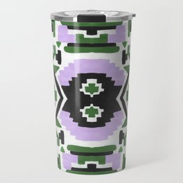 Geometric Aztec - Lilac and Forest Green Travel Mug