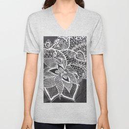 White hand drawn floral lace black chalkboard Unisex V-Neck