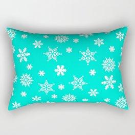 Snow Flurries-Frosty Blue Rectangular Pillow
