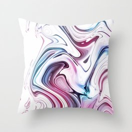 Liquid Marble - Pink and Blue Throw Pillow