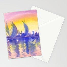 Sunset on marina Stationery Cards