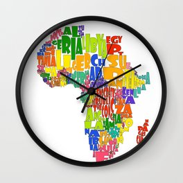 African Continent Cloud Map Wall Clock