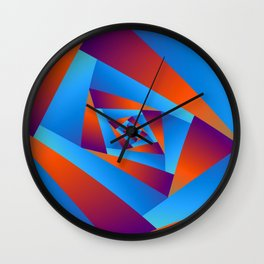 Orange and Blue Spiral Wall Clock