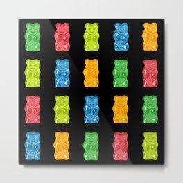 Rainbow Gummy Bears Pattern on Black Background Metal Print
