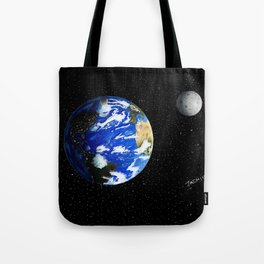 Drawing the Earth and the Moon Tote Bag