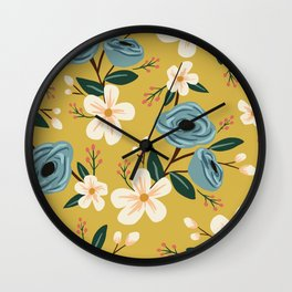 Mustard and Blue Floral Wall Clock