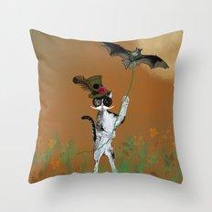 Cat Walking His Bat Throw Pillow