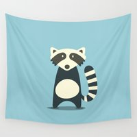 raccoon Wall Tapestries featuring RACCOON by Seokhyun Shim