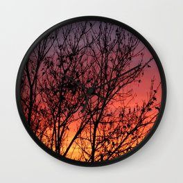 Tree and sunset Wall Clock