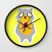 racoon Wall Clocks featuring Racoon by Jessica Slater Design & Illustration