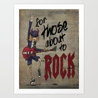 acdc Art Prints featuring For Those About To Rock by Even In Death