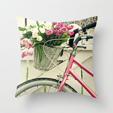 Pink Bike Throw Pillow