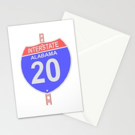 Interstate highway 20 road sign in Alabama Stationery Cards