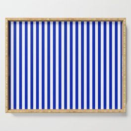 Cobalt Blue and White Vertical Deck Chair Stripe Serving Tray