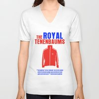 the royal tenenbaums V-neck T-shirts featuring The Royal Tenenbaums Movie Poster by FunnyFaceArt