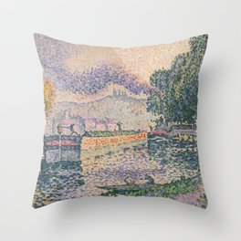 The Tugboat, Canal in Samois Throw Pillow