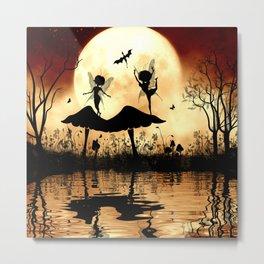Cute little dancing fairy in the night Metal Print